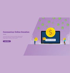 Corona virus online donation campaign concept for vector