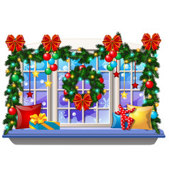 Cozy interior home window with decoraions and vector