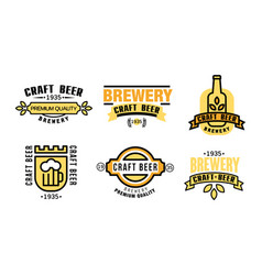 craft beer premium quality logo set vintage vector image