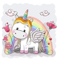 Cute cartoon unicorn on the meadow vector