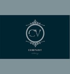 cv c v blue decorative monogram alphabet letter vector image