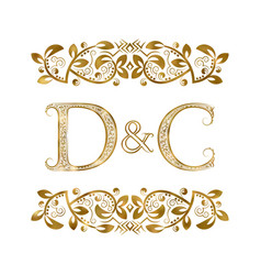 d and c vintage initials logo symbol the letters vector image
