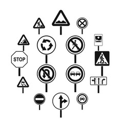 different road signs icons set simple style vector image