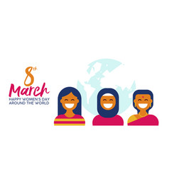 Ethnic woman group for happy womens day banner vector