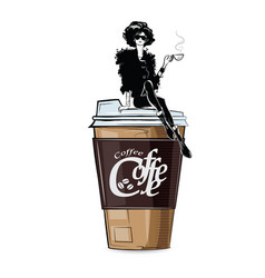 fashion girl in sketch-style with cup cofe vector image