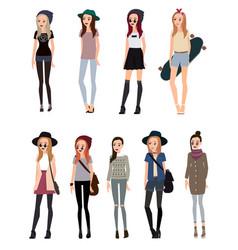 fashionable girl hipster vector image