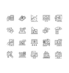 financial service provider line icons signs vector image