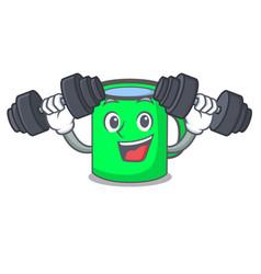 fitness mug character cartoon style vector image