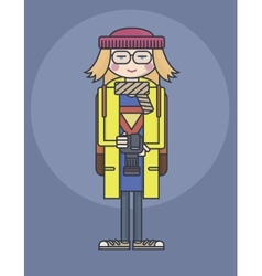 flat design line drawn girl in glasses and yellow vector image vector image