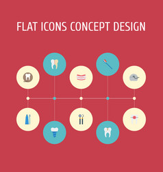 Flat icons decay implantation radiology and vector