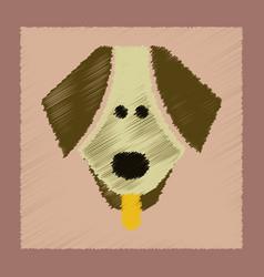 Flat shading style icon pet dog vector