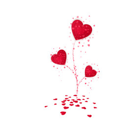 flower from red paper hearts valentines day card vector image