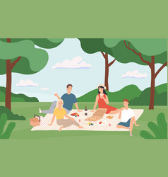 friends at picnic happy young men and women vector image