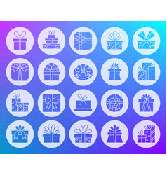 Gift shape carved flat icons set vector