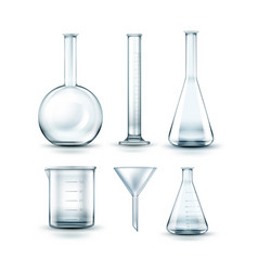glass laboratory flasks vector image