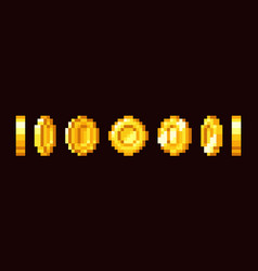 Gold coin animation frames for 16 bit retro video vector
