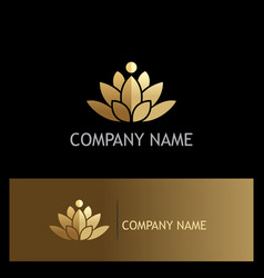 Gold lotus flower luxury logo vector