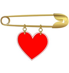 Golden Pin with a Heart vector image
