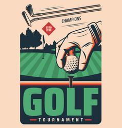 golf tournament retro poster sport game vector image