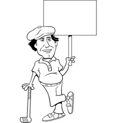golfer leaning on a golf club and holding a sign vector image