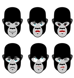 Gorilla emotions Set expressions avatar monkey vector image