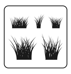 Grass bushes set black lawn vector