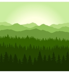 Green fog coniferous forest and mountains vector