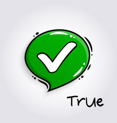 green speech bubble with tick sign vector image