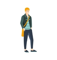 Guy In Shortened Pants And Slip-On Shoes Part Of vector image