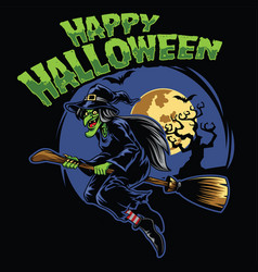 halloween design witch and fliying broom vector image