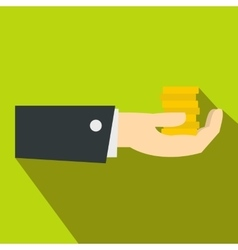 Hand giving money icon flat style vector image