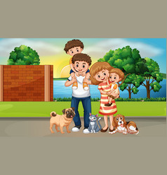 Happy family in street scene vector