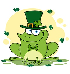 Happy Leprechaun Frog With Background vector image