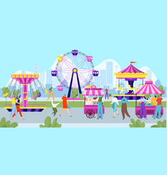Happy people in amusement park colorful vector