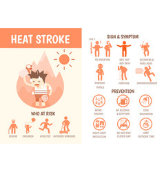 Health care infographics about heat stroke vector