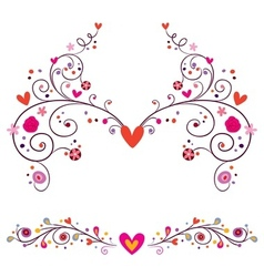 Heart flowers elements ornament vector