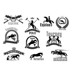 horse racing or equine polo club icons set vector image