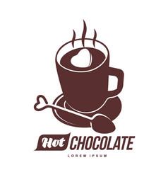 Hot chocolate logo template vector