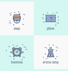 Insomnia and sleep thin line icons vector