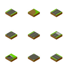 Isometric way set of crossroad upwards driveway vector