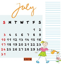 july 2016 kids vector image