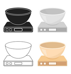 kitchen scale icon in cartoon style isolated on vector image