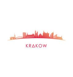 Krakow skyline silhouette design colorful vector