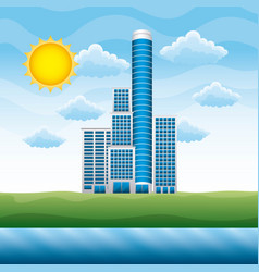 landscape with building cloud sun river vector image