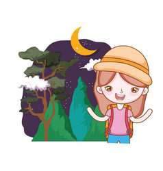 little tourist girl in the landscape vector image