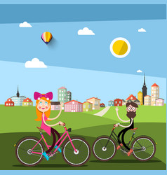 man and woman on bicycle with city ark on vector image
