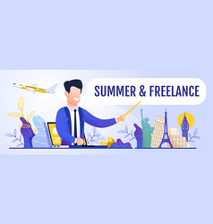 man promoting remote work during travel banner vector image