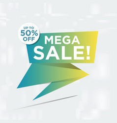 mega sale banner template design vector image
