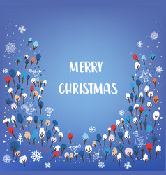 merry christmas card with forest animals snow vector image
