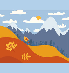mountain landscape autumn fields landscape with a vector image
